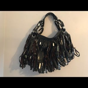 Beautiful black handbag with fringe shiny detail
